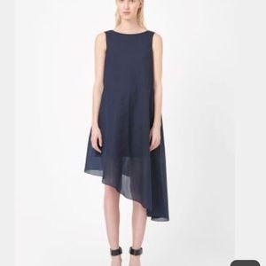 Eileen Fisher Asymmetric silk dress s/p Dark Blue